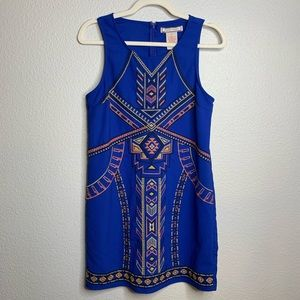 FLYING TOMATO Embroidered Aztec Style Blue Dress S